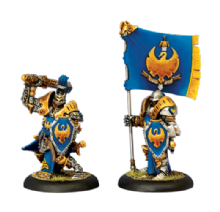 Cygnar Sword Knight Officer & Standard (2)